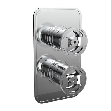 Crosswater Union 2 Outlet Concealed Thermostatic Shower Valve with Wheels - Chrome