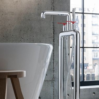 Crosswater Union Floorstanding Bath Shower Mixer Tap with Red Levers - Chrome