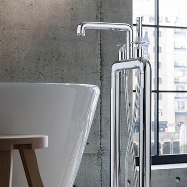 Crosswater Union Floorstanding Bath Shower Mixer Tap with Wheels - Chrome