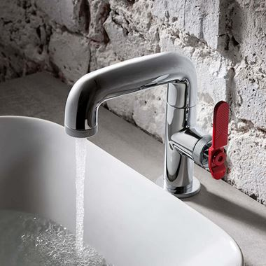 Crosswater Union WRAS Approved Mono Basin Mixer Tap - Chrome & Red Lever