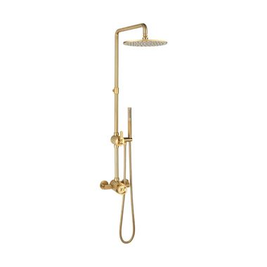 Crosswater Union Thermostatic Exposed Shower Kit with Fixed Head & Handset - Brushed Brass