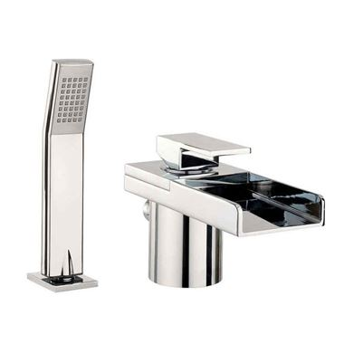 Crosswater Water Square Lights Waterfall Bath and Shower Mixer with Lights and Kit