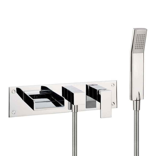 Crosswater Water Square Wall Mounted Waterfall Bath Filler Tap with Kit and Diverter