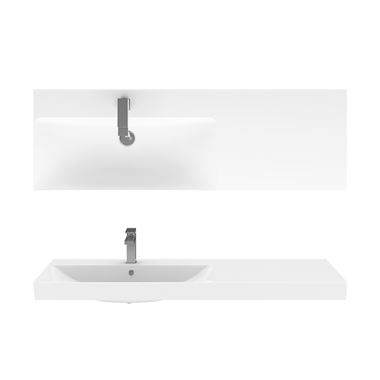 Crosswater Zion 1210mm Wall Mounted or Countertop Basin - Left or Right Hand