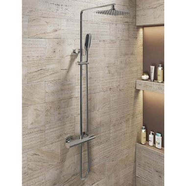 Darwin Exposed Dual Outlet Rigid Riser Thermostatic Shower Set