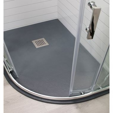 Drench Anthracite Slate Effect Offset Quadrant Shower Tray- Left & Right Hand Options