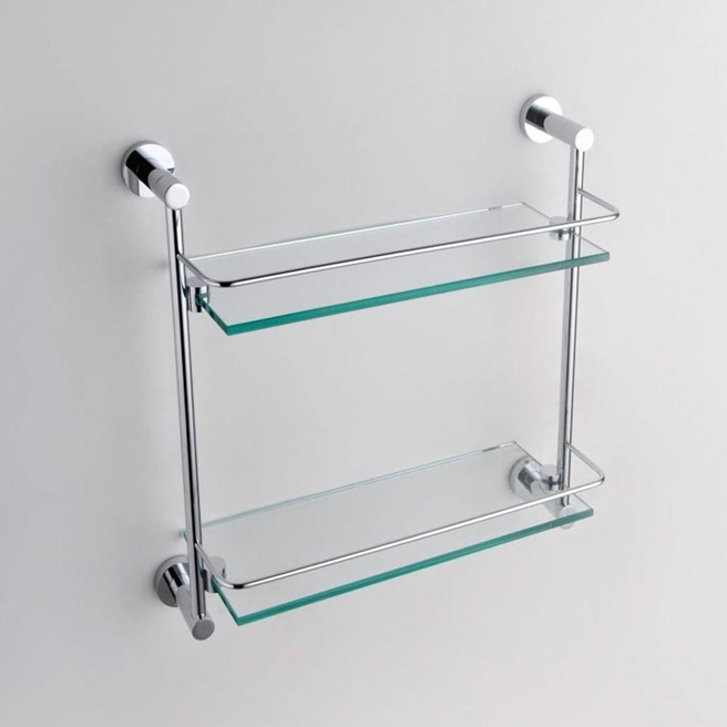 Drench Round Chrome Plated Brass & Glass Double Shelf -410mm
