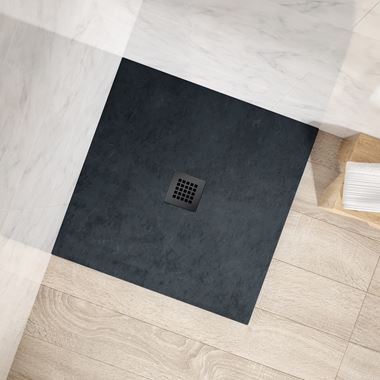 Drench Naturals Graphite Thin Slate-Effect Square Shower Tray - 900 x 900mm