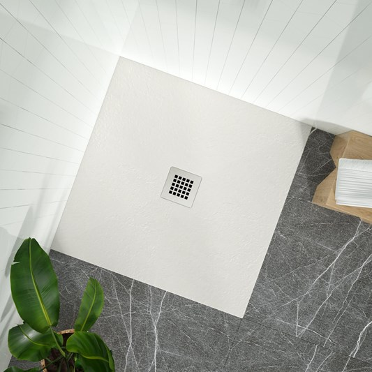 Drench Naturals Light Grey Thin Slate-Effect Square Shower Tray - 900 x 900mm