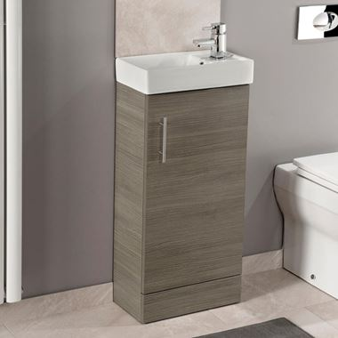 Maisie Compact 400mm Mini Cloakroom Vanity Unit & Basin - Oak