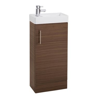 Maisie Compact 400mm Mini Cloakroom Vanity Unit & Basin - Walnut