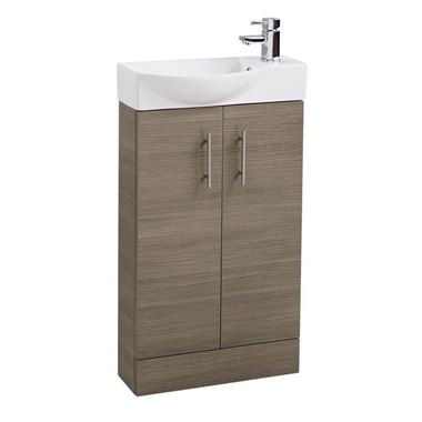 Maisie 500mm Cloakroom 2 Door Vanity Unit with Oversized Basin - Oak