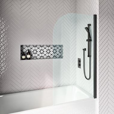 Drench Noir 6mm Matt Black Curved Corner Hinged Bath Screen - 1430 x 785mm