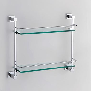 Drench Chrome Plated Brass & Glass Double Shelf - 410mm