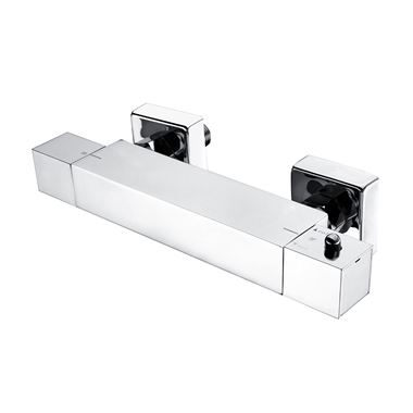 Drench Square Thermostatic Bar Valve - Bottom Outlet