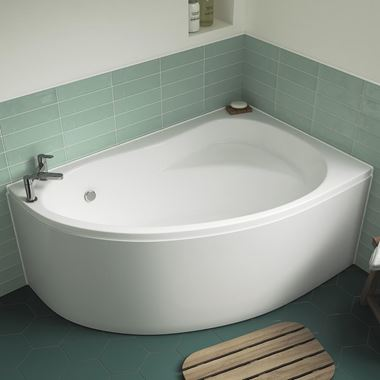 Drench Theodore Offset Corner Bath & Panel - 1450 x 950mm