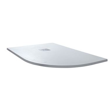 Drench Ultra Thin White Slate Effect Offset Quadrant Shower Tray 1200mm - Left Hand or Right Hand