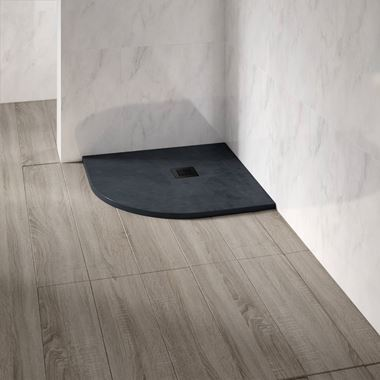 Drench Naturals Graphite Thin Slate-Effect Quadrant Shower Tray
