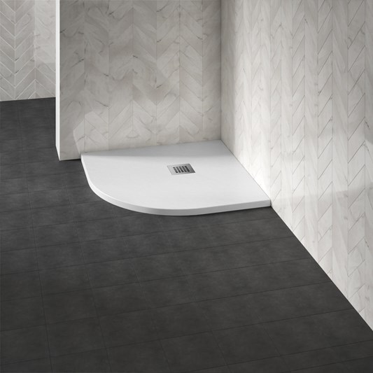 Drench Naturals White Thin Slate-Effect Quadrant Shower Tray