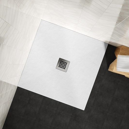Drench Naturals White Thin Slate-Effect Square Shower Tray - 900 x 900mm