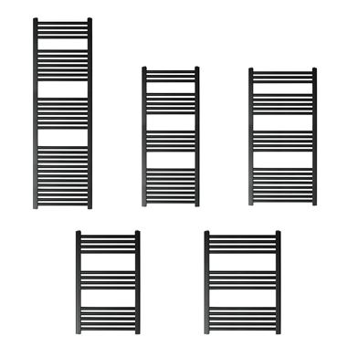EliteHeat Stainless Steel Ladder Heated Towel Rail 25mm Bars - Matt Black