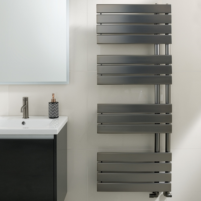 EliteHeat Stainless Steel Open-Side Heated Towel Rail - Brushed Black - 2 Sizes