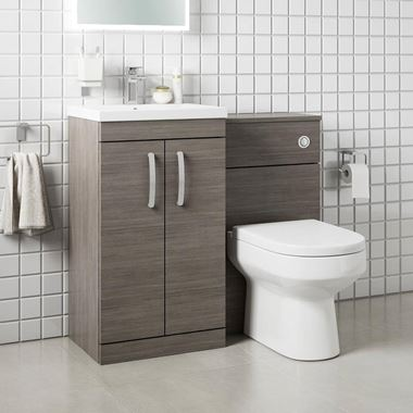 Emily 1000mm Combination Bathroom Toilet & Sink Unit - Avola Grey