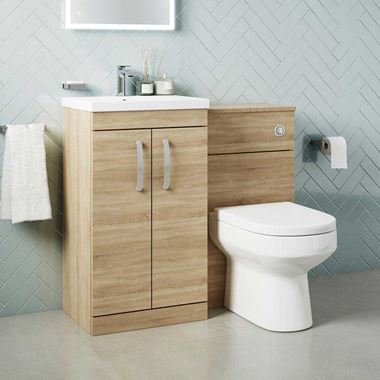 Emily 1000mm Combination Bathroom Toilet & Sink Unit - Natural Oak