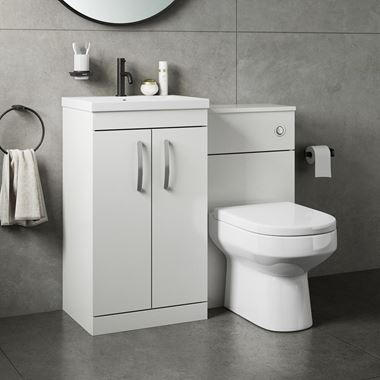 Drench Emily 1000mm Combination Bathroom Toilet & Sink Unit - White Gloss