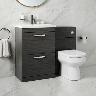 Emily 1100mm Combination Bathroom Toilet & Sink Unit with Drawers - Hacienda Black