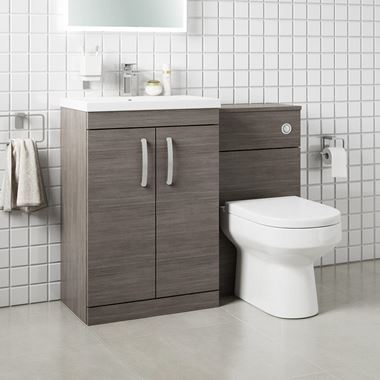 Emily 1100mm Combination Bathroom Toilet & Sink Unit - Avola Grey