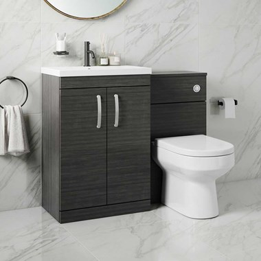 Emily 1100mm Combination Bathroom Toilet & Sink Unit with Doors - Hacienda Black