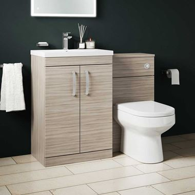 Emily 1100mm Combination Bathroom Toilet & Sink Unit - Driftwood