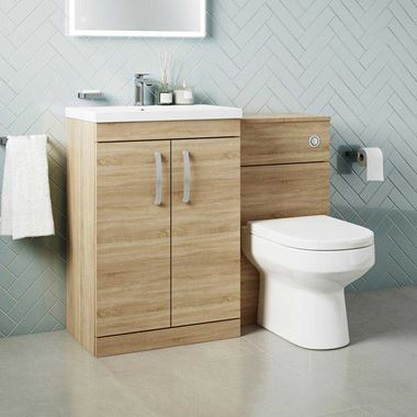 Emily 1100mm Combination Bathroom Toilet & Sink Unit - Natural Oak