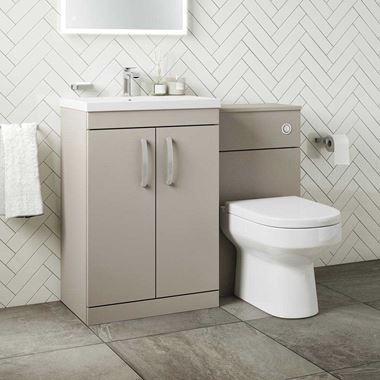 Emily 1100mm Combination Bathroom Toilet & Sink Unit - Stone Grey