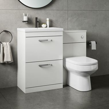 Drench Emily 1100mm Combination Bathroom Toilet & Sink Unit - White Gloss