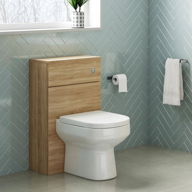 Emily 500mm Back to Wall Toilet Unit - Natural Oak