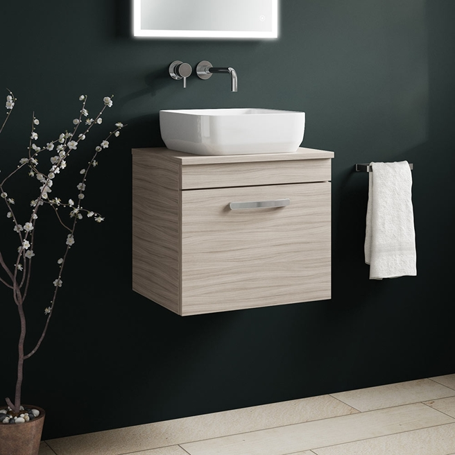 Emily 500mm Wall Mounted 1 Drawer Unit and Countertop - Driftwood