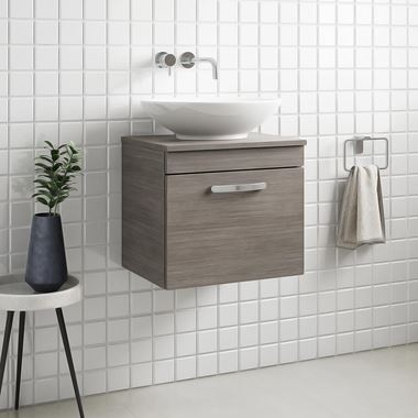 Emily 500mm Wall Mounted 1 Drawer Unit and Countertop - Grey Avola