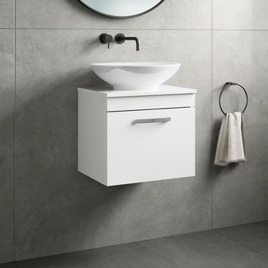 Emily 500mm Wall Mounted 1 Drawer Unit and Countertop - Gloss White