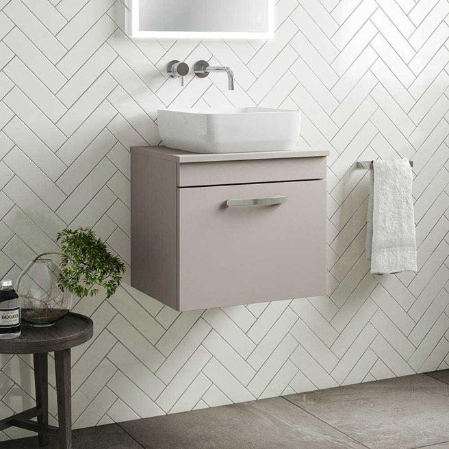 Emily 500mm Wall Mounted 1 Drawer Unit and Countertop - Matt Stone Grey