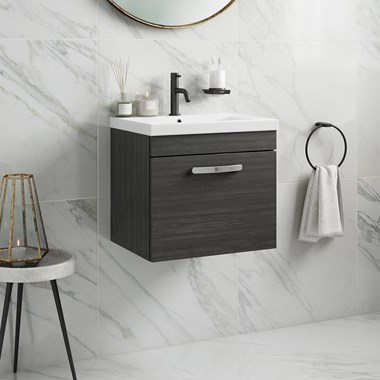Emily 500mm Wall Mounted 1 Drawer Vanity Unit & Basin - Hacienda Black