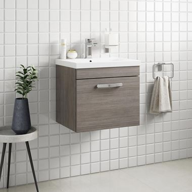 Emily 500mm Wall Mounted 1 Drawer Vanity Unit & Basin - Grey Avola