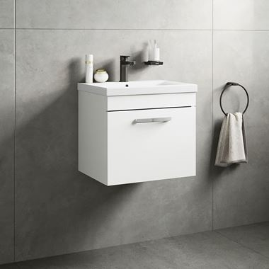 Emily 500mm Wall Mounted 1 Drawer Vanity Unit & Basin - Gloss White