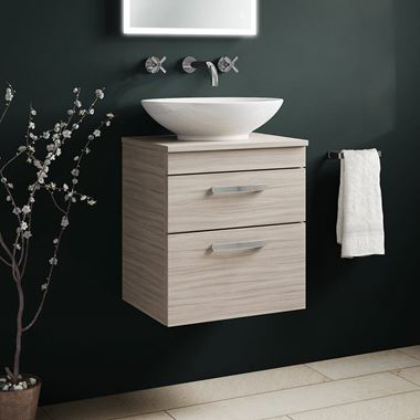 Emily 500mm Wall Mounted 2 Drawer Unit and Countertop - Driftwood