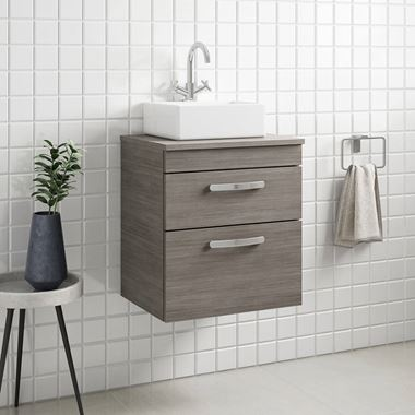 Emily 500mm Wall Mounted 2 Drawer Unit and Countertop - Grey Avola