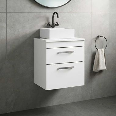 Emily 500mm Wall Mounted 2 Drawer Unit and Countertop - Gloss White