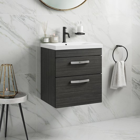 Emily 500mm Wall Mounted 2 Drawer Vanity Unit & Basin - Hacienda Black