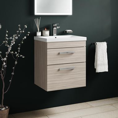 Emily 500mm Wall Mounted 2 Drawer Vanity Unit & Basin - Driftwood