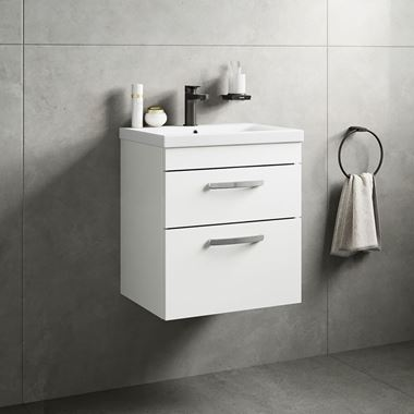 Emily 500mm Wall Mounted 2 Drawer Vanity Unit & Basin - Gloss White